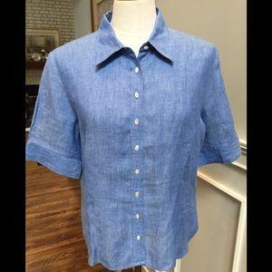 Talbots short sleeve linen blouse